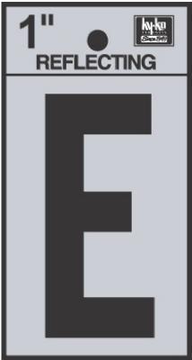 """1"""" BLK Refl Letter E"""