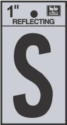 "1"" BLK Refl Letter S"