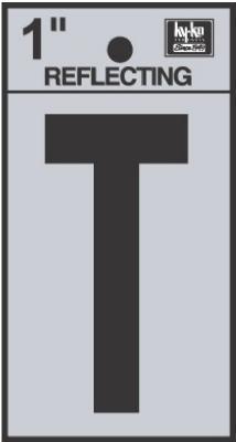 "1"" BLK Refl Letter T"