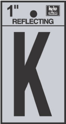 """1"""" BLK Refl Letter K"""