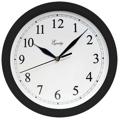 "10"" BLK Plas Wall Clock"