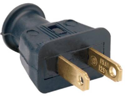 15A BLK Rubb 2Wire Plug