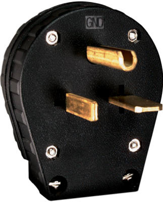 30/50A BLK 2P HD Plug - Woods Hardware