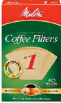 MELITTA 620122 40 Pack, Natural Brown, #1 Cone Coffee Filter, Fits Melitta