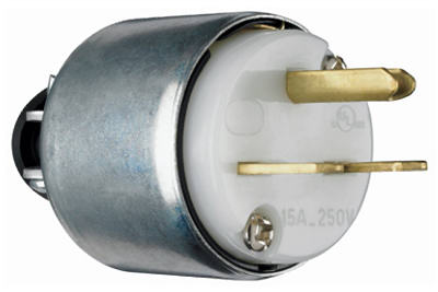 15A 250V WHTArmor Plug - Woods Hardware