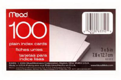100CT 3x5 Pl Index Card