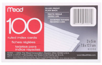 100CT3x5 Rul Index Card