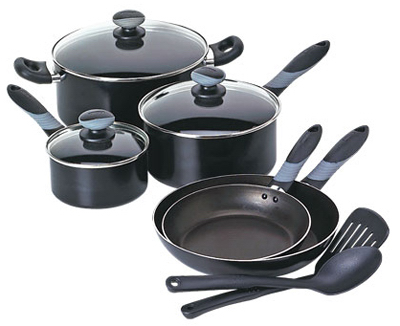 10PC BLK Cookware Set
