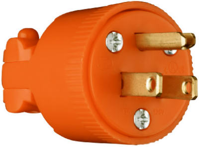 15A 125V ORG 3Wire Plug - Woods Hardware