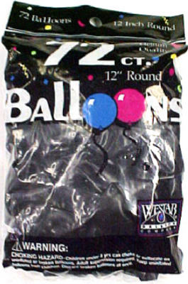 72CT BLK Helium Balloon