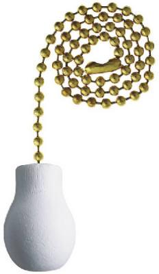 """12"""" WHT Knob Pull Chain"""
