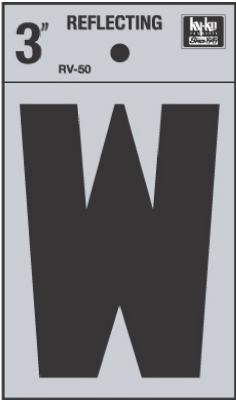 """3"""" Refl Vinyl Letter W"""