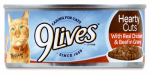 JM SMUCKER RETAIL SALES 10079100003256 9 Lives, 5.5 OZ, Hearty Cuts With Chicken & Beef