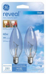 G E Lighting 48701 Reveal 40-Watt Candelabra Base Clear Chandelier Bulb