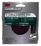 3M 9421ES-30-B Sandblaster 3-Pk., 5-In. 5-Hole 60-Grit Sanding Disc