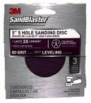 3M 9422ES-30-B Sandblaster 3-Pk., 5-In. 5-Hole 80-Grit Sanding Disc