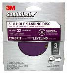 3M 9423ES-30-B Sandblaster 3-Pk., 5-In. 5-Hole 120-Grit Sanding Disc