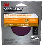 3M 9425ES-30-B Sandblaster 3-Pk., 5-In. 5-Hole 220-Grit Sanding Disc