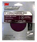 3M 9523SB-ES 3-Pack Sandblaster 5-Inch 8-Hole 120-Grit Sanding Disc