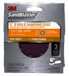 3M 9525SB-ES 3-Pack Sandblaster 5-Inch 8-Hole 220-Grit Sanding Disc
