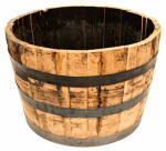 Real Wood Products B100 Half Barrel Planter, Oak