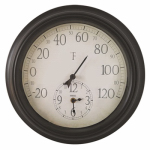 Springfield Precision Instruments 91575 Clock & Thermometer 14'' - Black