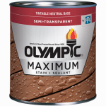 Olympic/Ppg Architectural Fin 79560A/01 Maximum Deck, Fence & Siding Stain & Sealant, Exterior, Semi-Transparent Oil, Neutral Tint Base, 1-Gal.