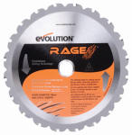Evolution Power Tools RAGE BLADE Tungsten Carbide-Tipped Multi-Purpose Blade, 7.25-In., 20-Teeth
