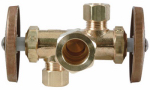 Brass Craft Service Parts CR1901DVX R Brass Dual-Handle Shut-Off Stop Valve, 5/8-In. x 3/8-In. x 3/8-In.