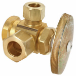 Brass Craft Service Parts R3701RX RD Brass Dual Outlet Stop Valve, 1/2-In. x 1/2-In. x 3/8-In.