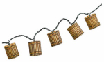 Luckytown Home Product AC-156-7-FS 10-Light Bamboo Cylinder Shape String Light Set