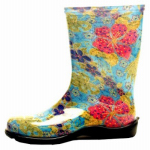 Principle Plastics 5002BL10 Women's Rubber Boot, Tall Midsummer Blue Print, Size 10