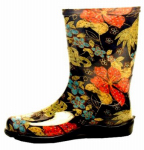 Principle Plastics 5002BK09 Women's Rubber Boot, Tall Midsummer Black Print, Size 9
