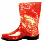 Principle Plastics 5004RD10 Women's Rubber Boot, Tall Paisley Red Print Rubber, Size 10
