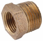 Anderson Metals 738110-0806 Hex Reducing Bushing, Lead Free Rough Brass, 1/2 x 3/8-In.