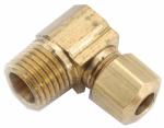 Anderson Metals 750069-0604 Pipe Fitting, Elbow, 90-Degree, Lead-Free Brass, 3/8 Compression x 1/4-In. MPT