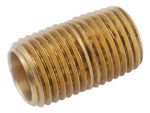 Anderson Metals 736112-04 Pipe Fitting, Yellow Brass Nipple, Lead Free, 1/4-In. x Close
