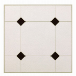 Max KD0309 Black & White Peel & Stick Vinyl Floor Tile, 12 x 12-In.