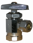 Larsen Supply 06-7203 1/2 Female Pipe Thread Inlet x 3/8-Inch O.D. Compression Outlet Chrome Angle Stop Valve