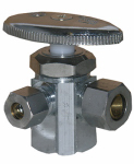 Larsen Supply 06-7319 Pipe Fitting, 3-Way Valve, Chrome, Lead-Free, 1/2 FPT x 3/8 x 1/4-In. Compression