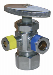 Larsen Supply 06-7353 5/8 O.D. Compression Inlet x 3/8 O.D. Compression x 1/4-Inch O.D. Compression Chrome 3 Way Angle Valve