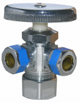 Larsen Supply 06-7355 5/8 O.D. Compression Inlet x 3/8 O.D. Compression x 3/8-Inch O.D. Compression Chrome 3-Way Angle Valve