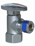 Larsen Supply 06-9201 Angle Valve, Quarter Turn, Chrome, 1/2-In. Female Pipe Thread Inlet x 3/8-In. Compression Outlet