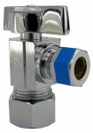 Larsen Supply 06-9211 5/8-Inch O.D. Compression Inlet x 3/8-Inch Compression Outlet Chrome Angle Valve