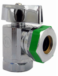 Larsen Supply 06-9221 Angle Valve, Quarter Turn, Chrome, 1/2-In. Female Pipe Thread Inlet x 7/16-In. - 1/2-In. Slip Joint Outlet
