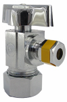 Larsen Supply 06-9263 5/8-Inch O.D. Compression Inlet x 1/4 Compression Outlet Quarter Turn Chrome Angle Valve