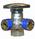 Larsen Supply 06-9321 3 Way Valve, Quarter Turn, 1/2-In. Female Pipe Thread Inlet x 3/8-In. Compression x 3/8-In. Compression Outlet
