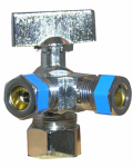 Larsen Supply 06-9355 3 Way Valve, Quarter Turn, Chrome, 5/8-In. O.D. Compression Inlet x 3/8-In. Compression x 3/8-In. Compression Outlet
