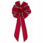 Holiday Trim 6175 7Loop RED Velv Wire Bow