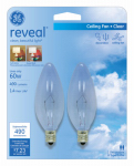 G E Lighting 48714 Reveal Chandelier Light Bulb, Clear, 60-Watt